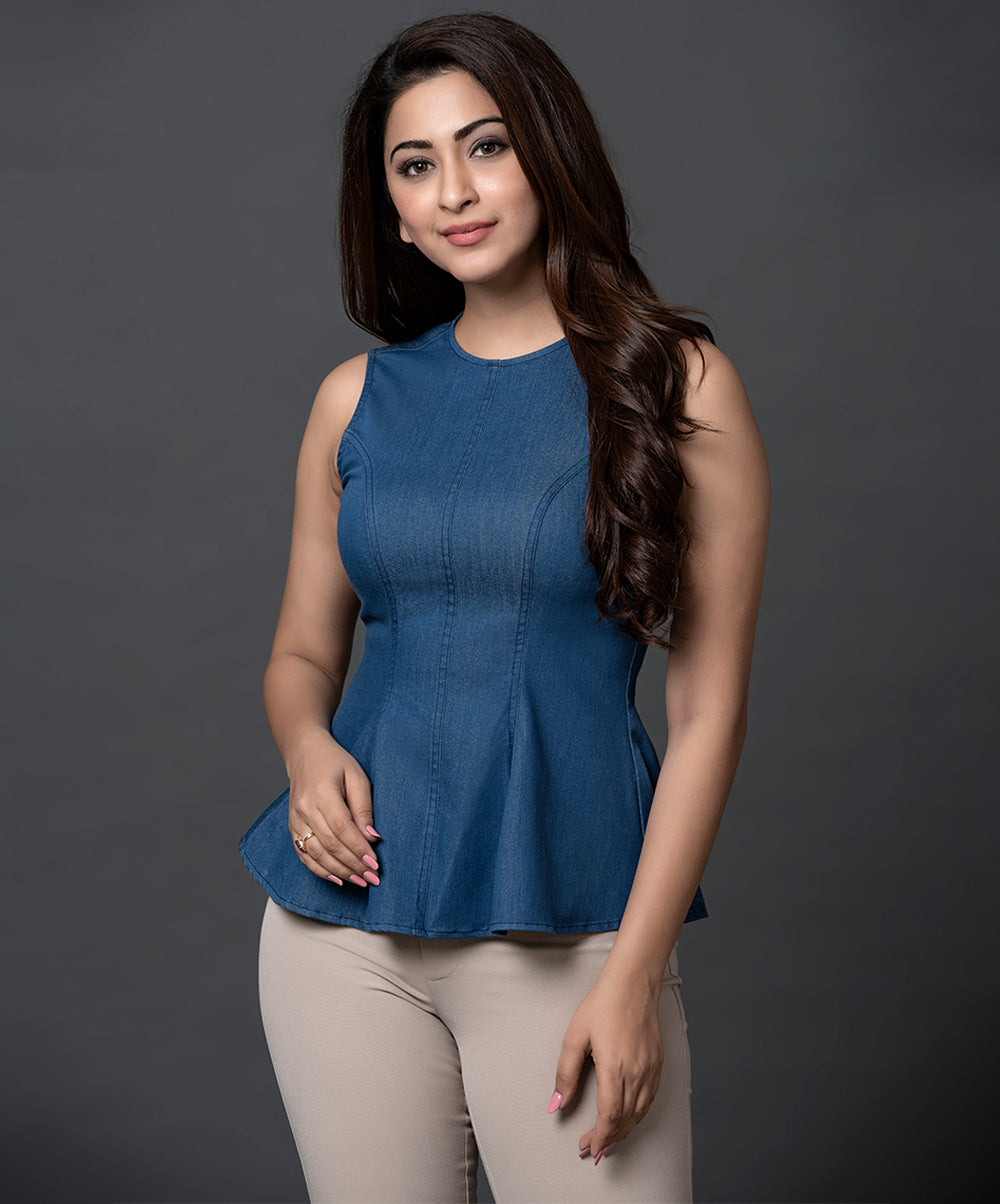 Chambray Princess Line Peplum Top