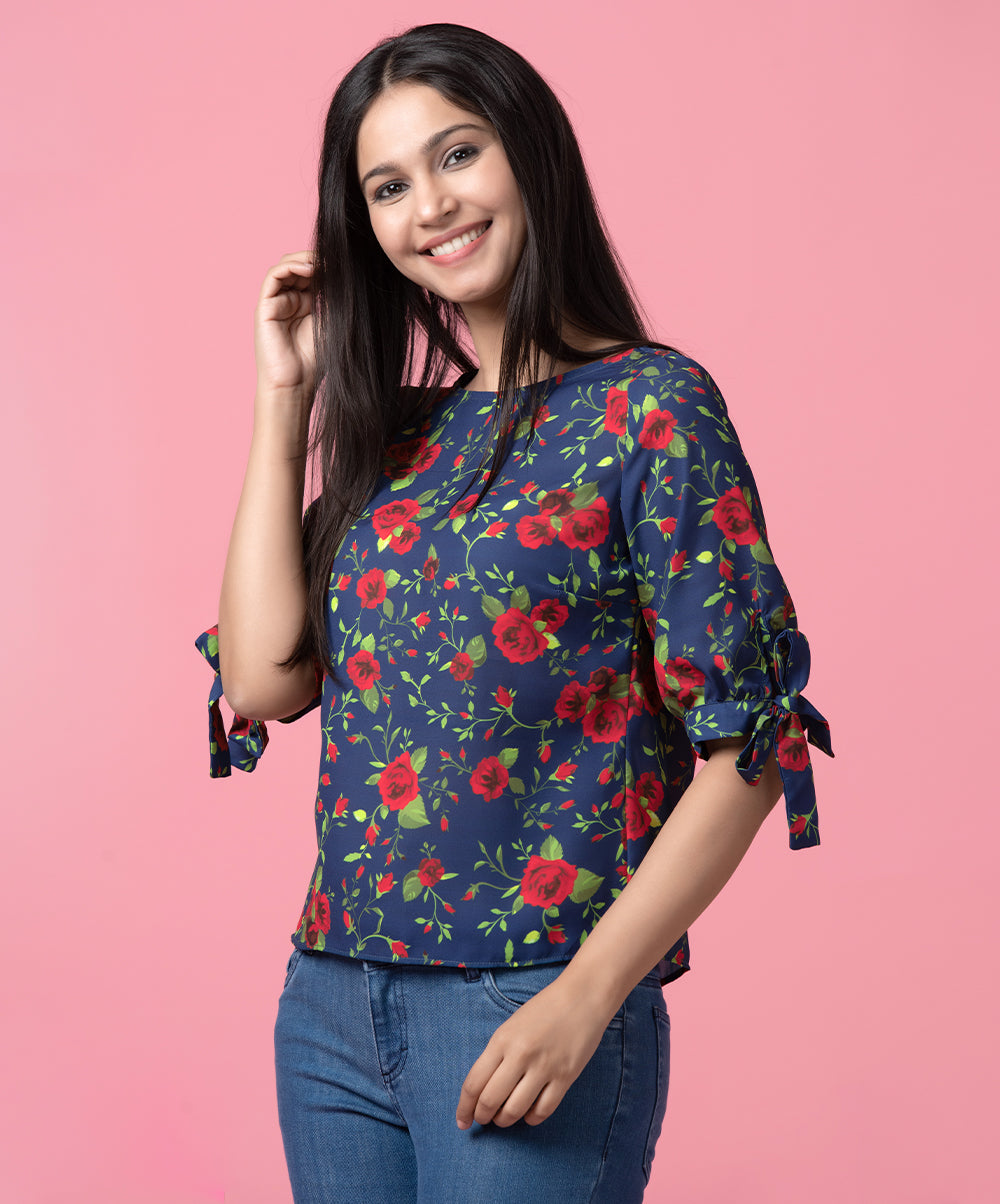 Rose Printed Sleeve Tie Up Top