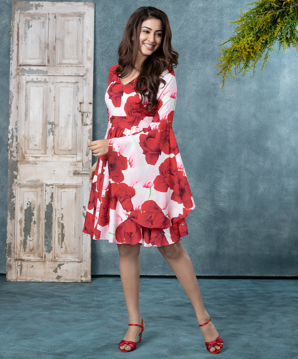 Floral Sleeve Flared Dress