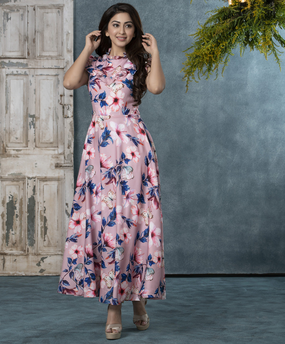 Frilled Floral Midi Dress