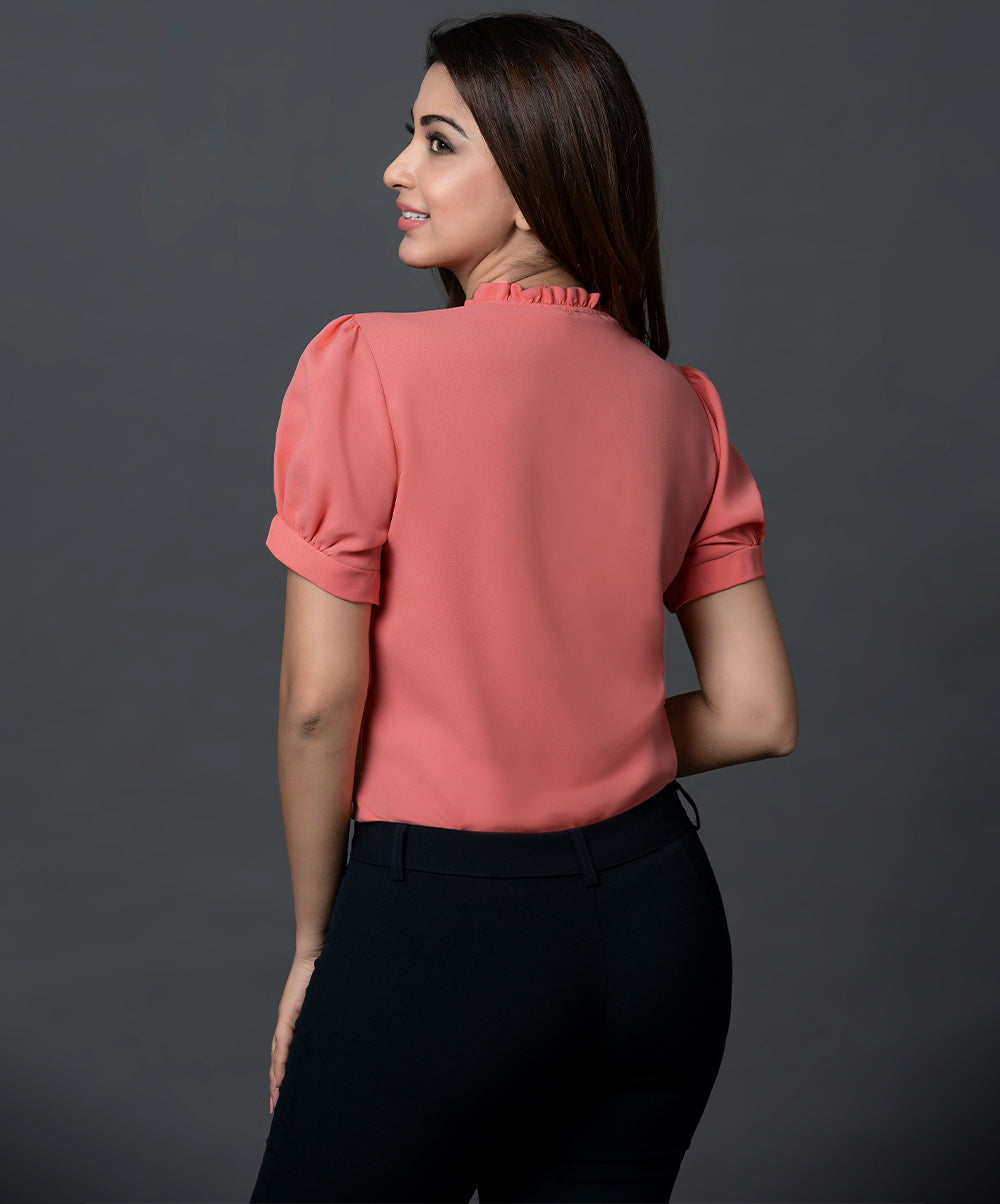 Peach Solid Button Detailed Workwear Top
