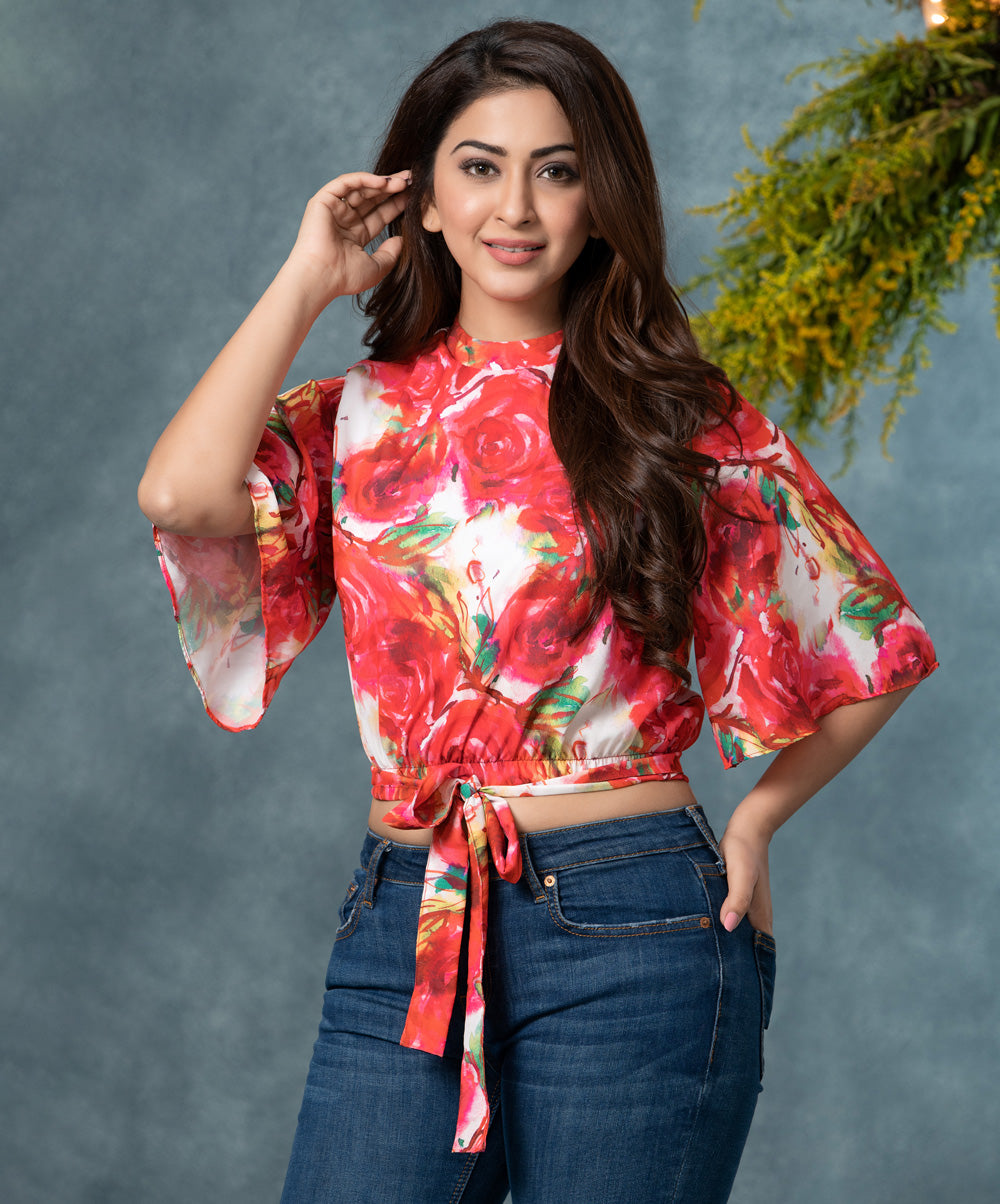 Floral Sleeve Flared Crop Top