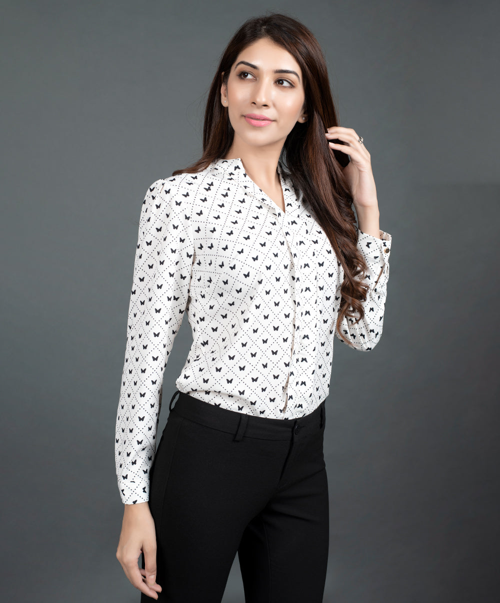 Butterfly Printed Long Sleeve Work Wear Top