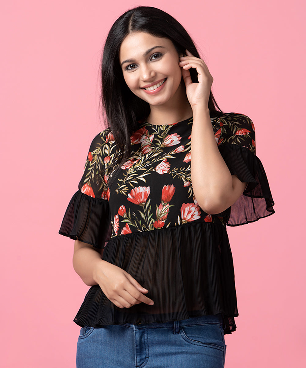 Pleated Floral Peplum Top