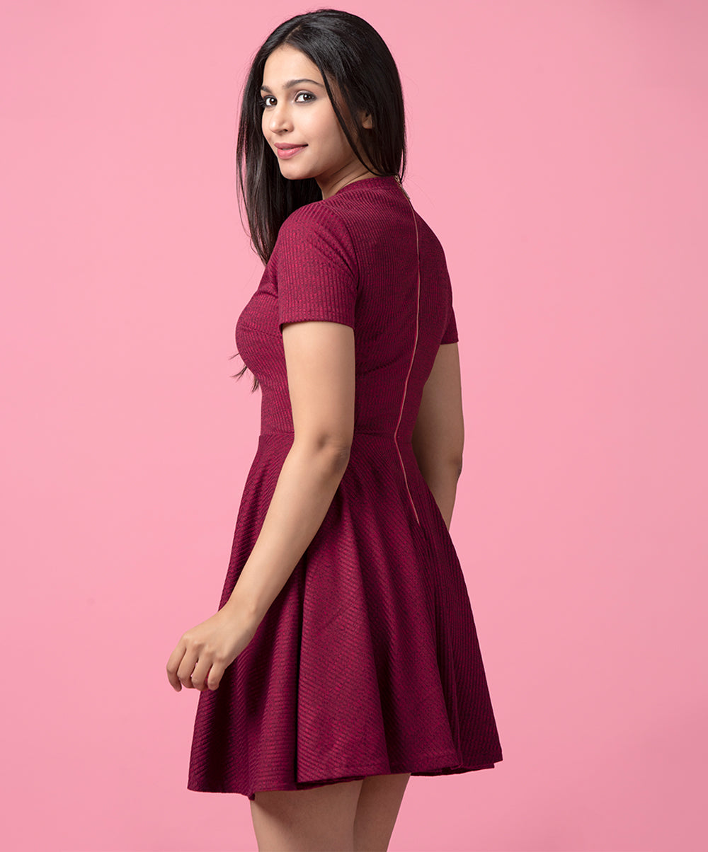 Maroon Blue Rib Skater Dress