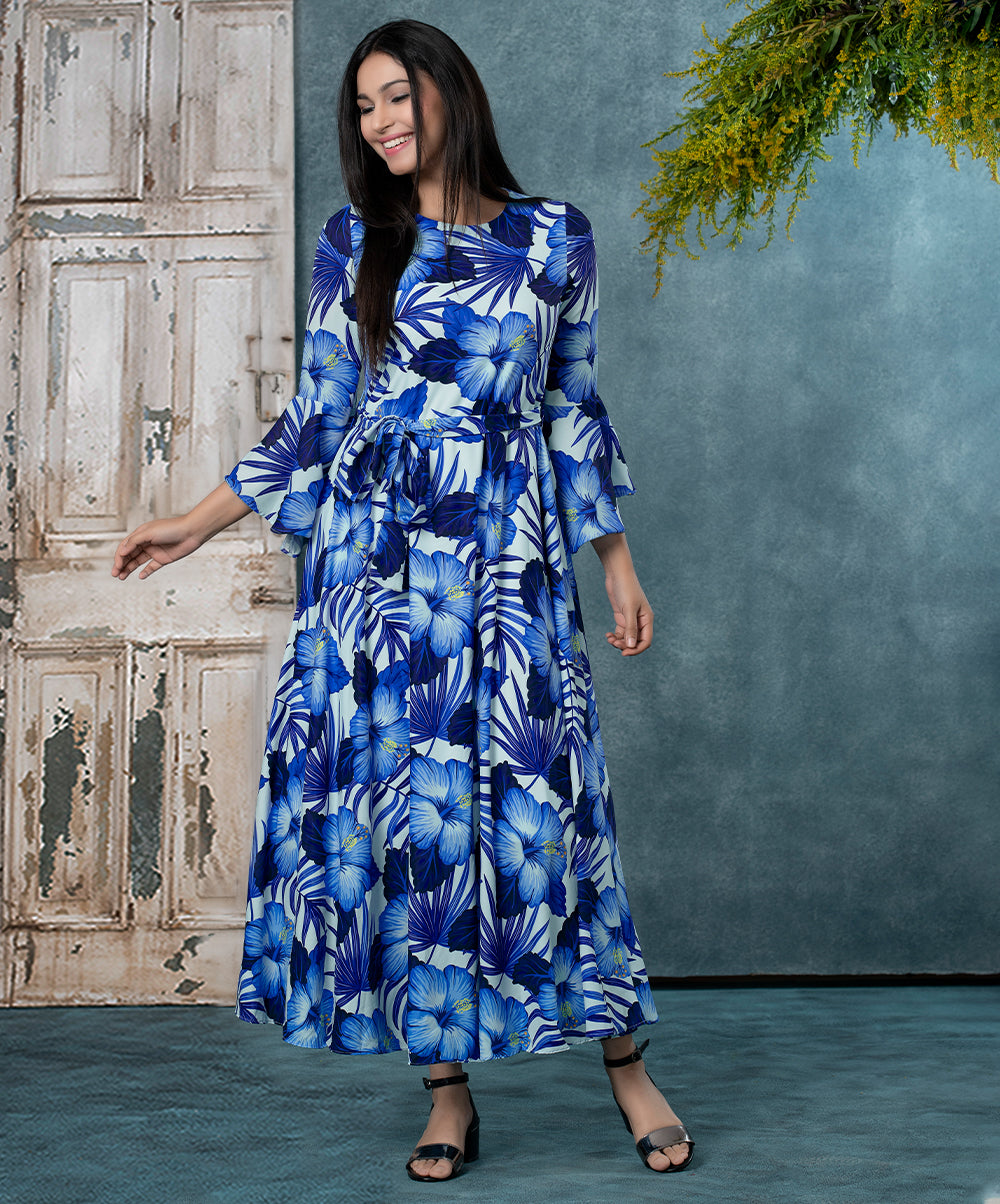 Sleeve Flared Calf length Dress