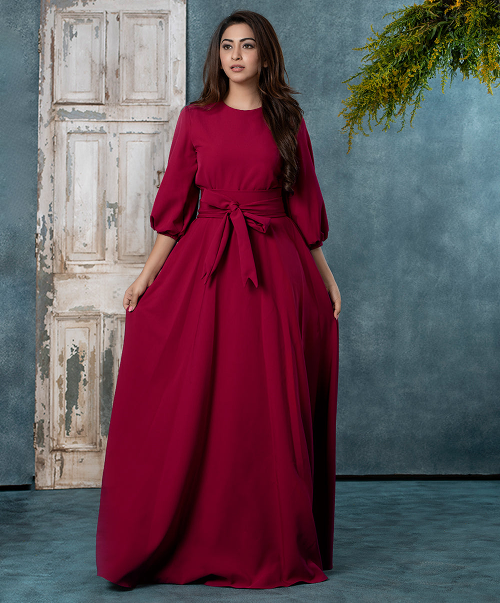 Side Tie Belt Gathered Maxi