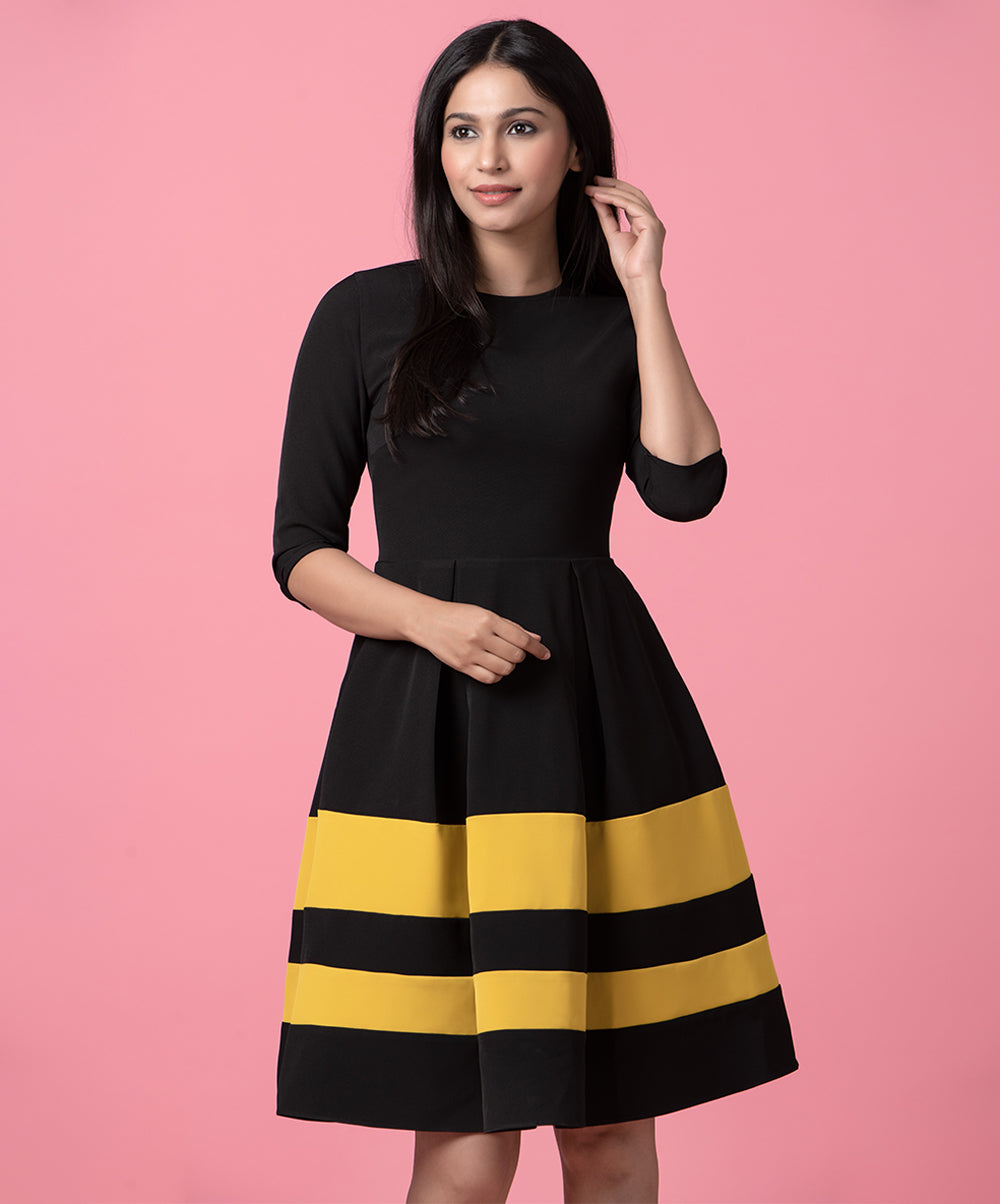Black And Mustard Border Dress