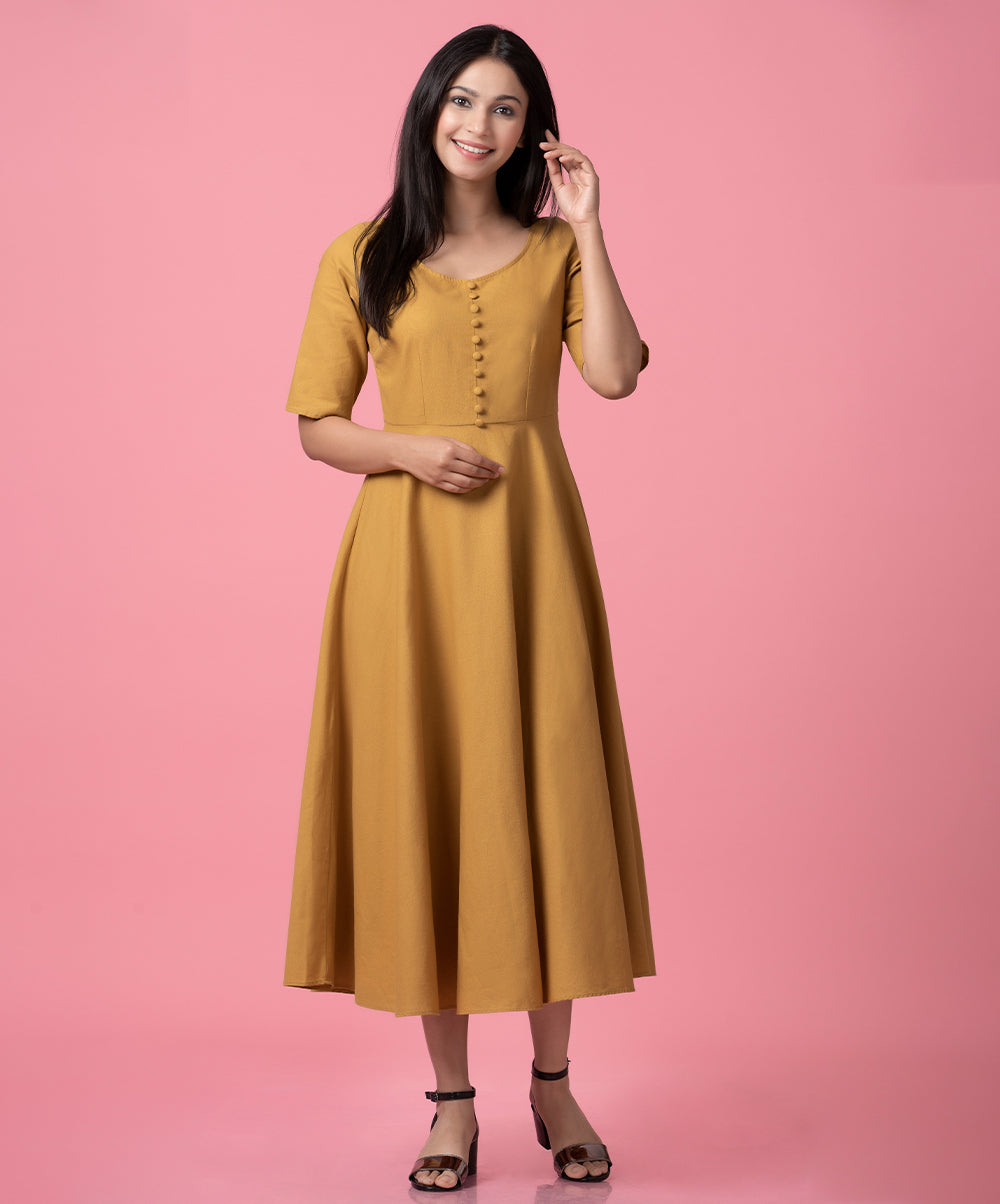 Linen Front Buttoned midi Dress