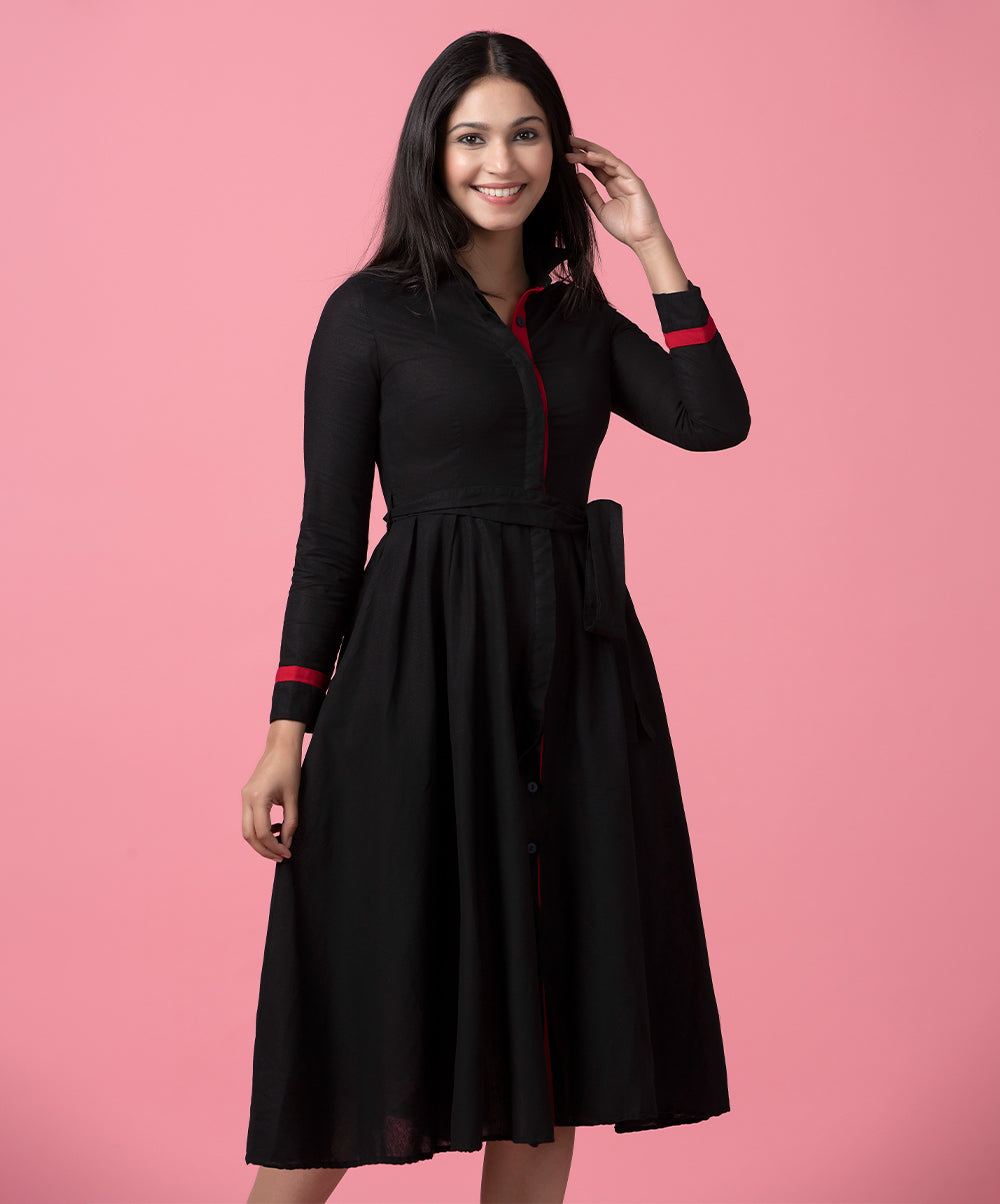 Black And Red Mixed Front Buttoned Dress