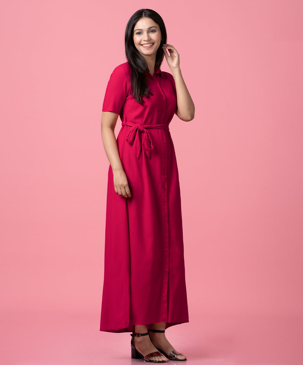 Linen Button Up Maxi Dress