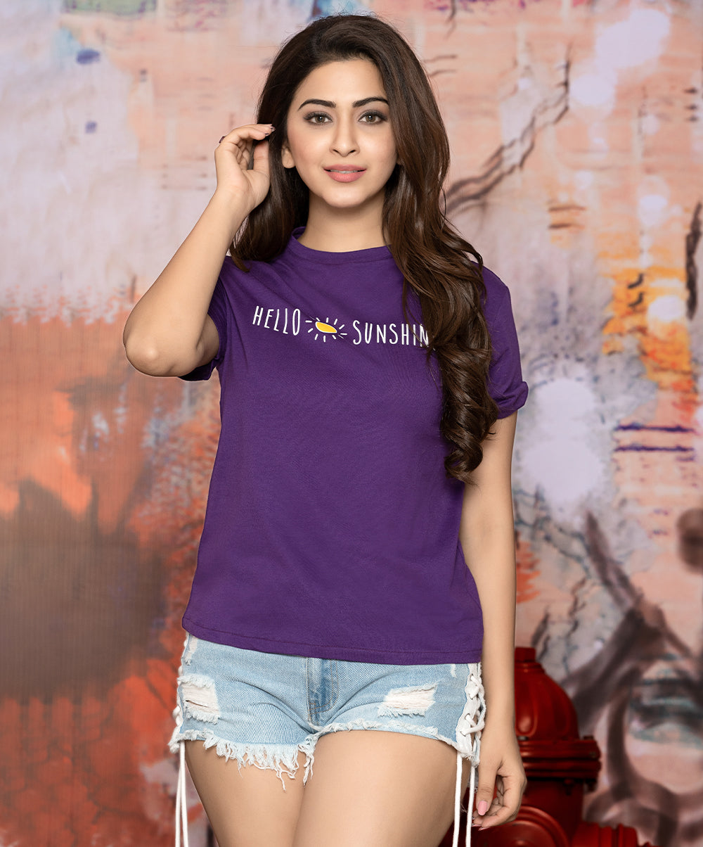 Hello Sunshine Printed Purple T-Shirt