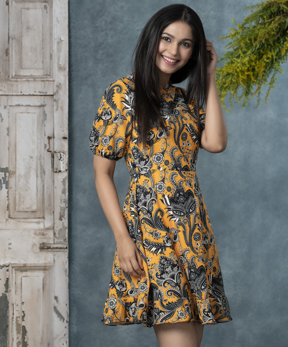 Floral Chiffon Half Balloon Sleeved Dress