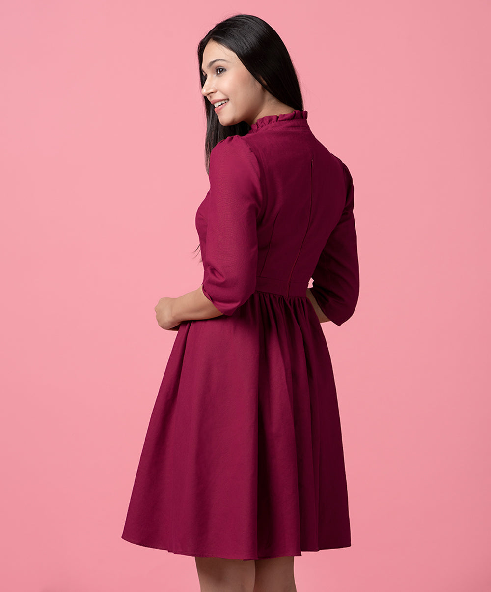 Maroon Frilled Linen Dress