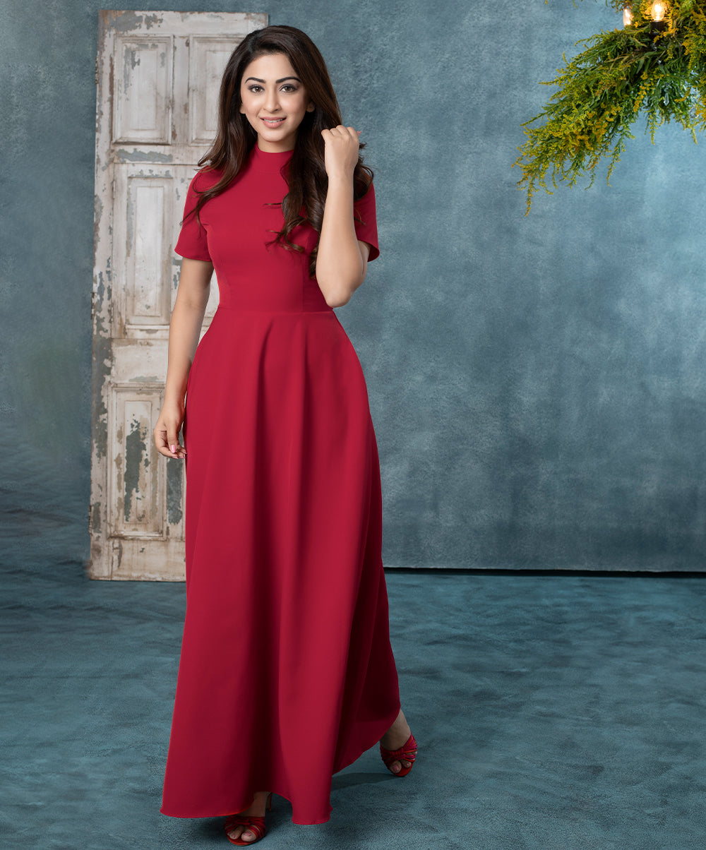 Red Ankle Length Maxi