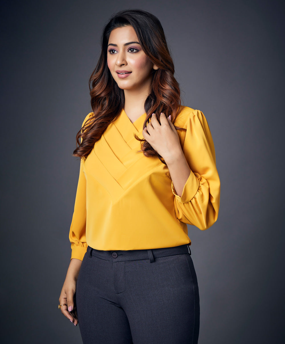 Mustard Side Pleated Chiffon Top