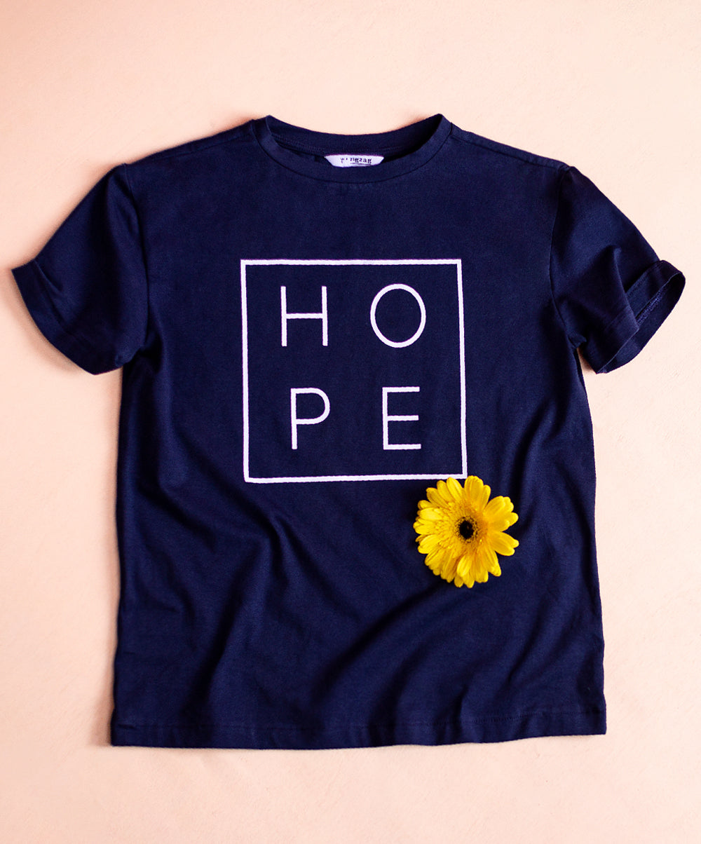 Blue Hope Printed Turn Up Sleeve T-Shirt
