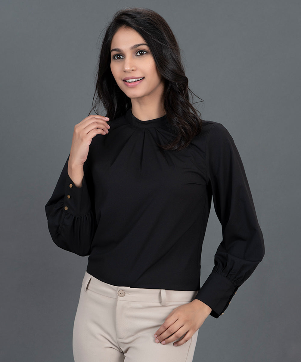 Black Long Sleeve Work Wear Top