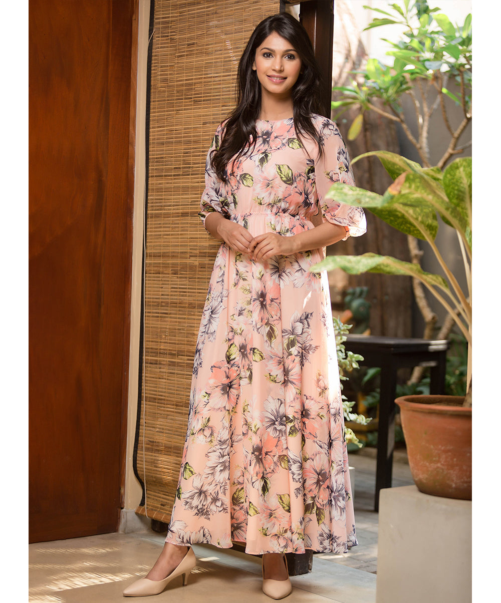 Louisa Pink Floral Printed Maxi Dress