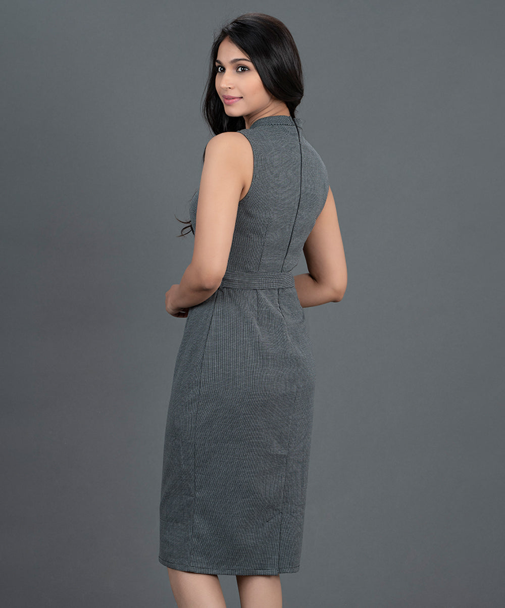 Black Stripe Work Wear Dress
