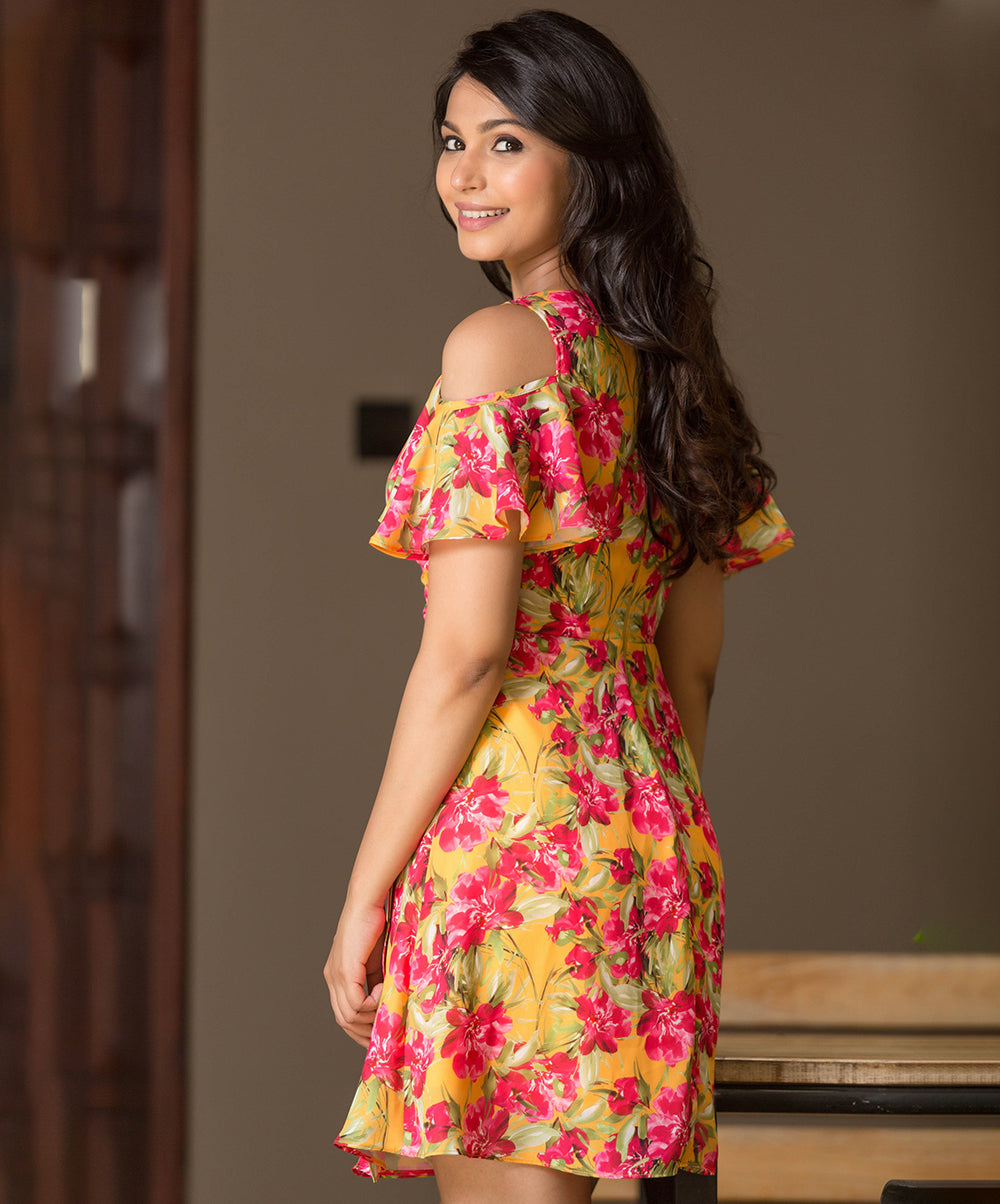 Yellow Aura Floral Midi Dress