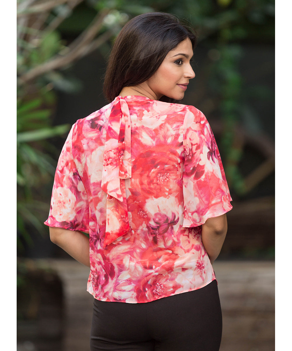 Red Elna Back Neck Tie Floral Printed Top