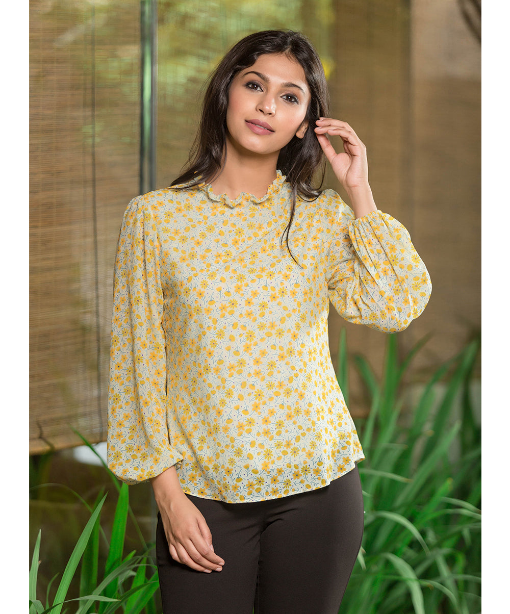 Amata Yellow Neck Frill Floral Printed Top