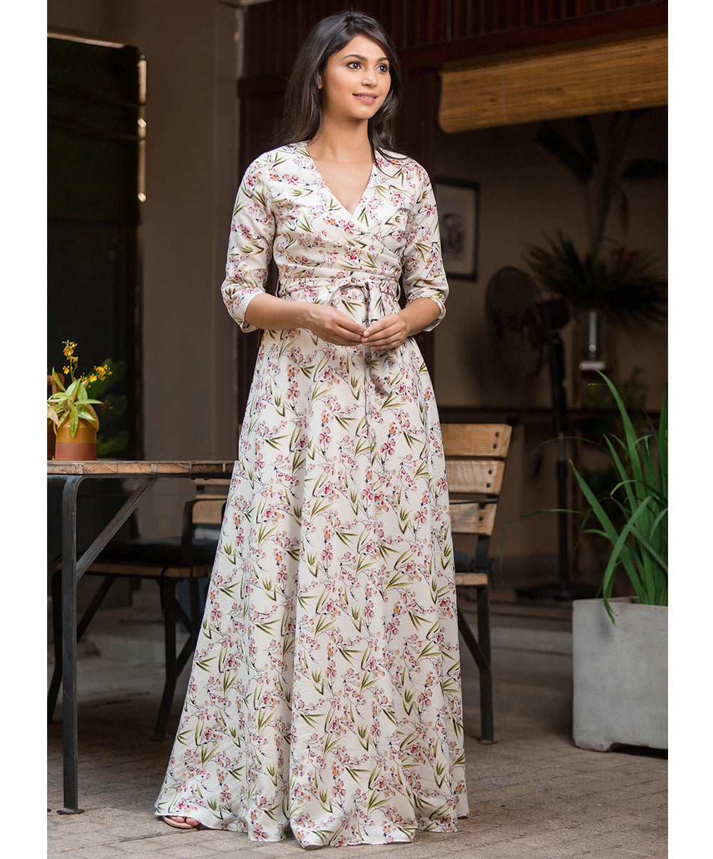 Tine White Floral Printed Maxi Dress