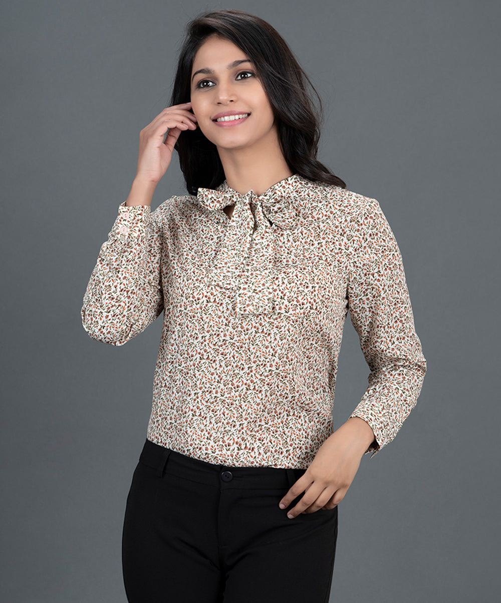 Neck Tie Printed Work Wear Top