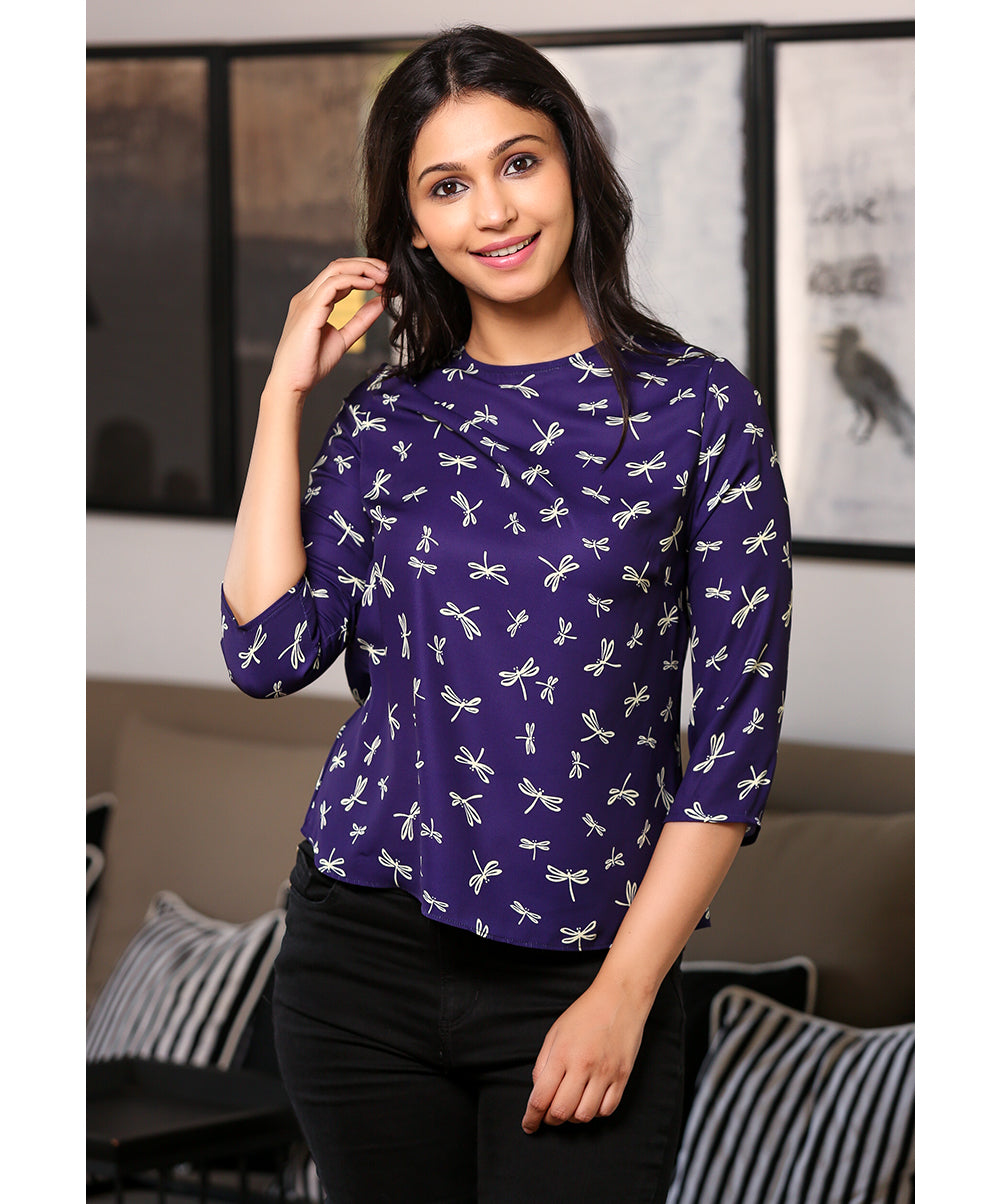 Insect Printed Navy Blue Top