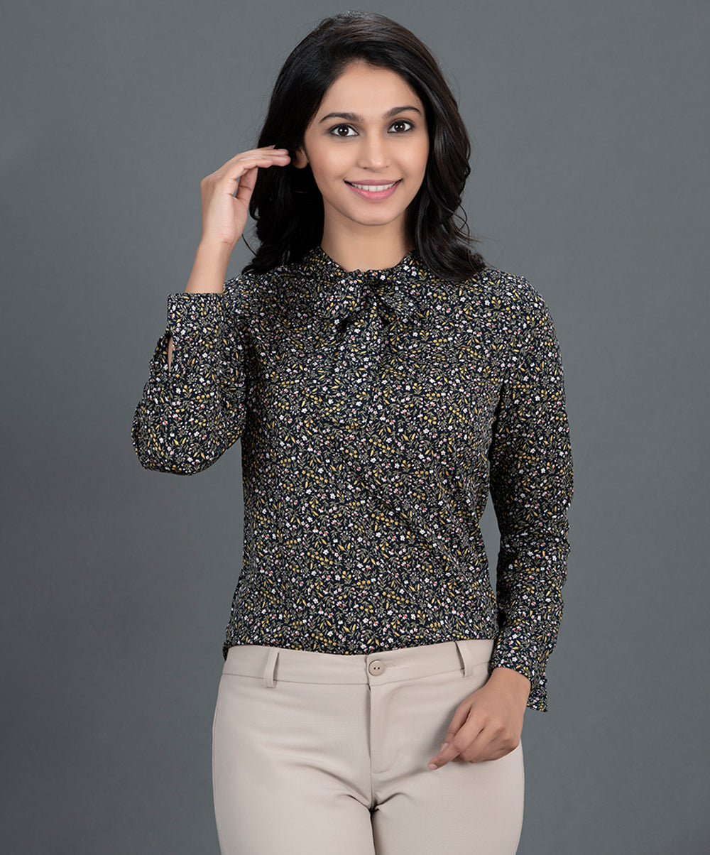 Neck Tie Black Printed Work Wear Top