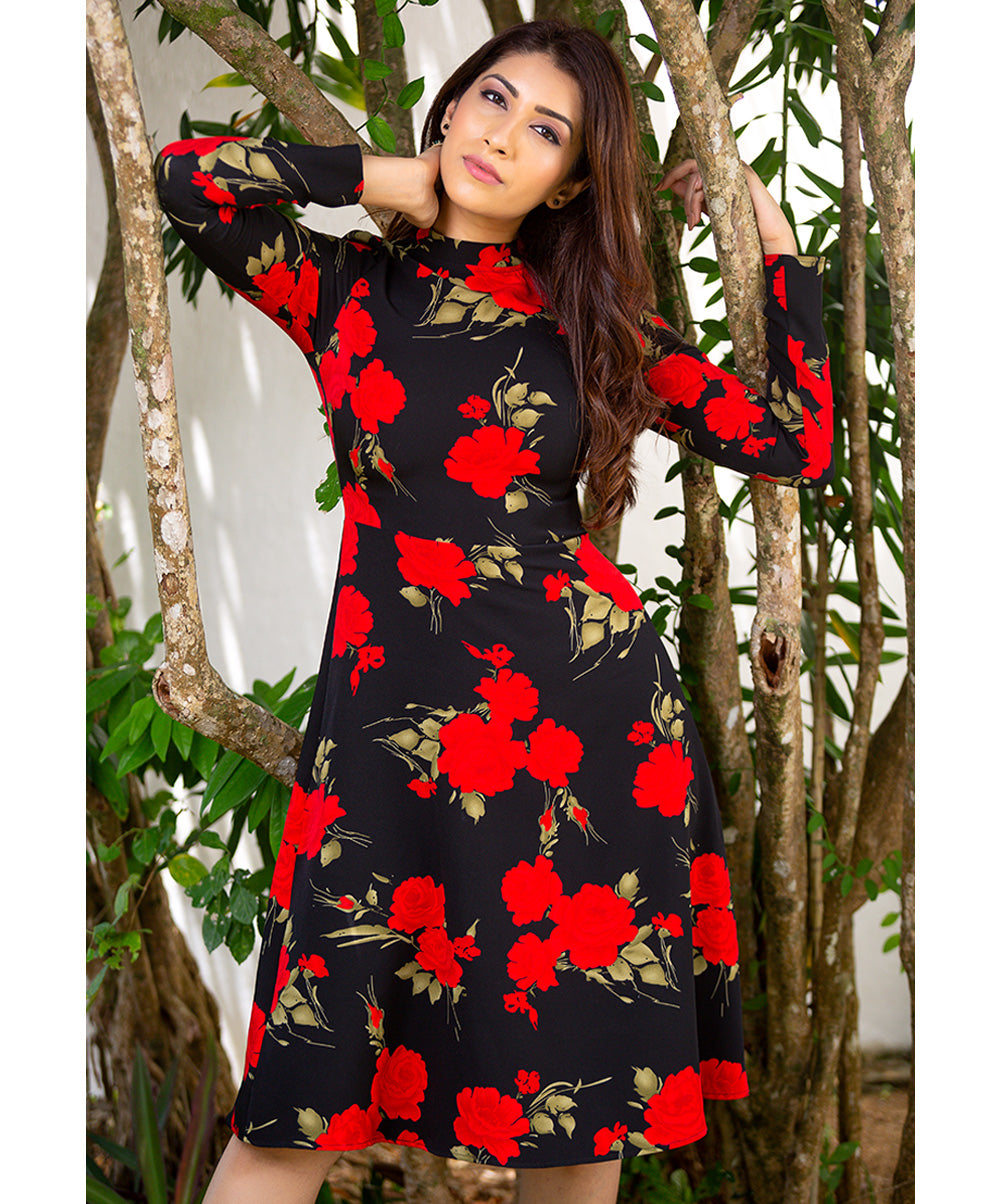 Red Flower Printed Long Sleeve Dress