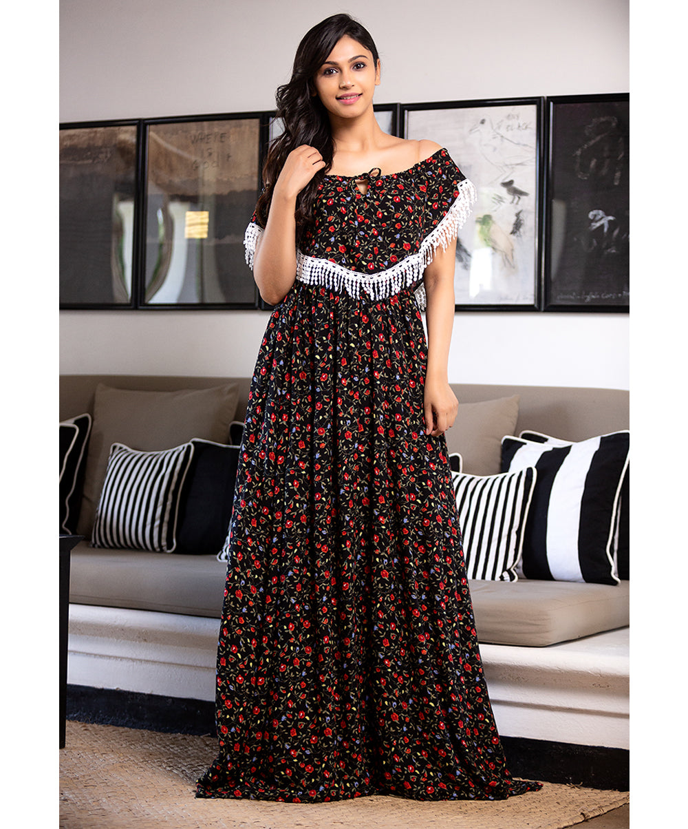 Tussle Detailed Floral Maxi Dress