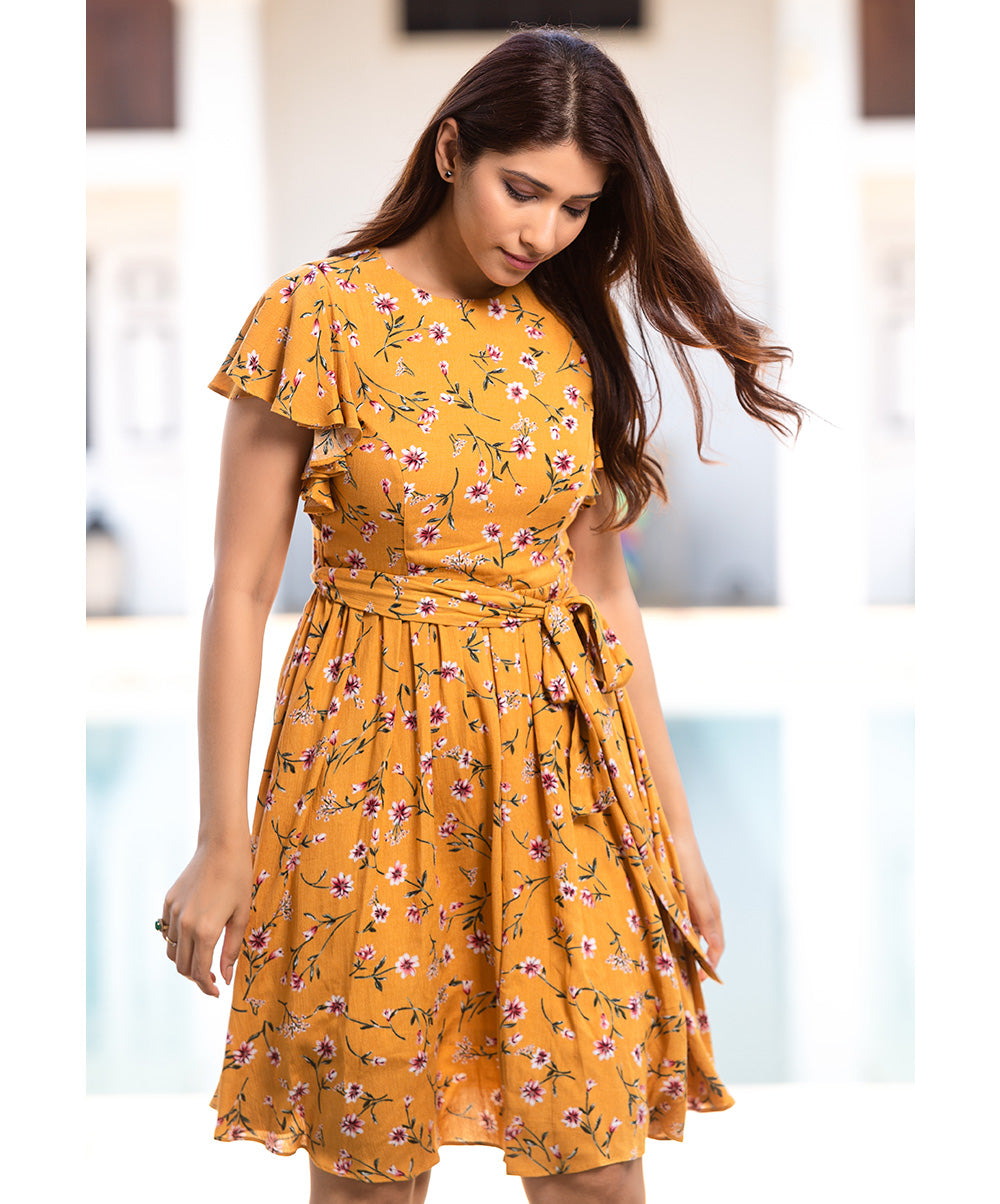 Printed Knee Length Dress