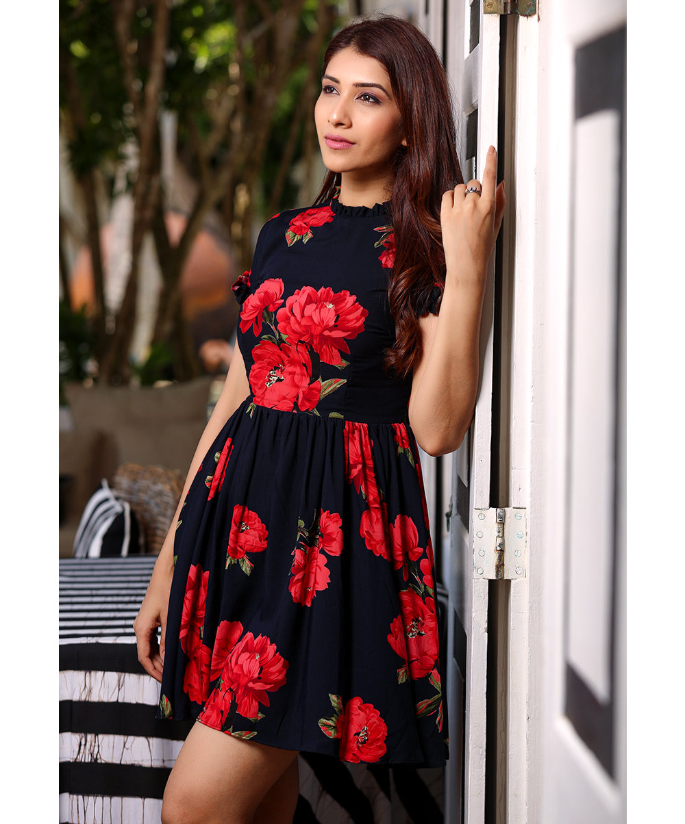 Bold Floral Viscose Dress