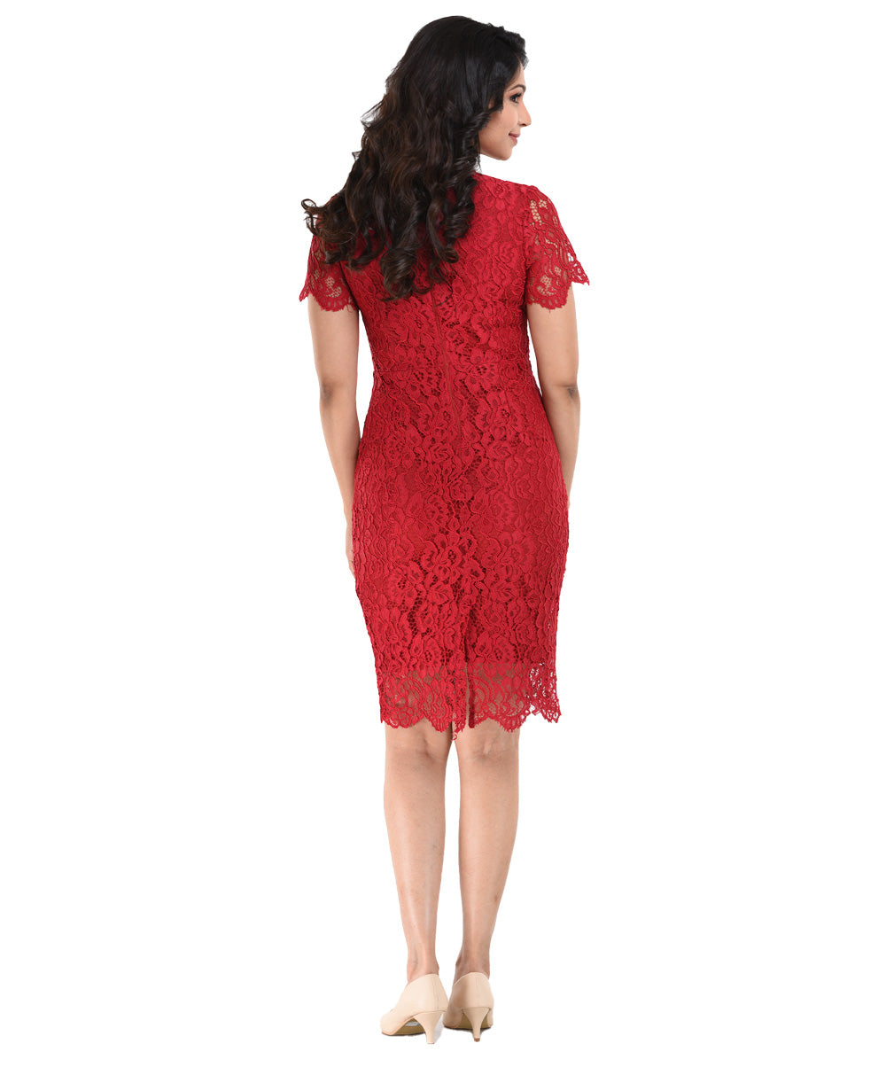Khaleesi Red Scallop Detail Lace Dress