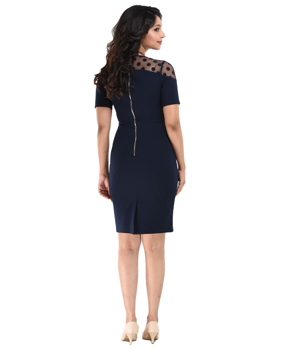 Blue Lace Detail Crew Neck Bodycon Dress