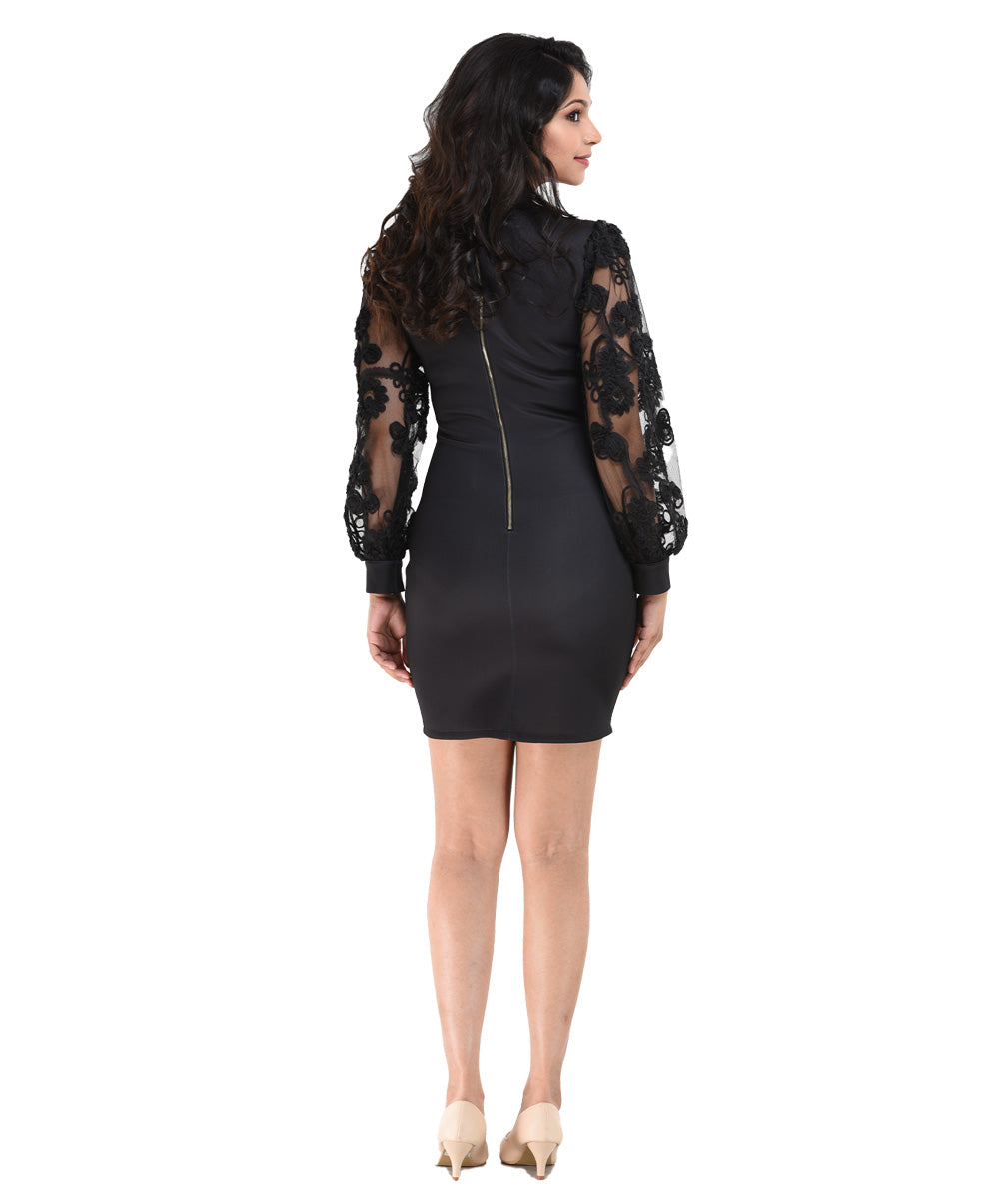 Black Lace Detail Long Sleeve Bodycon Dress
