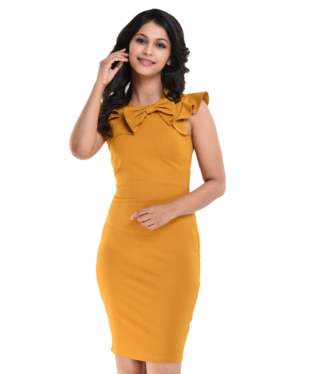 Mustard Gerde Bow Detail Bodycon WW Dress
