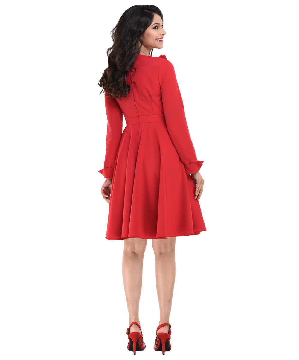 Red Akari Bodic Frill Details Skater Dress