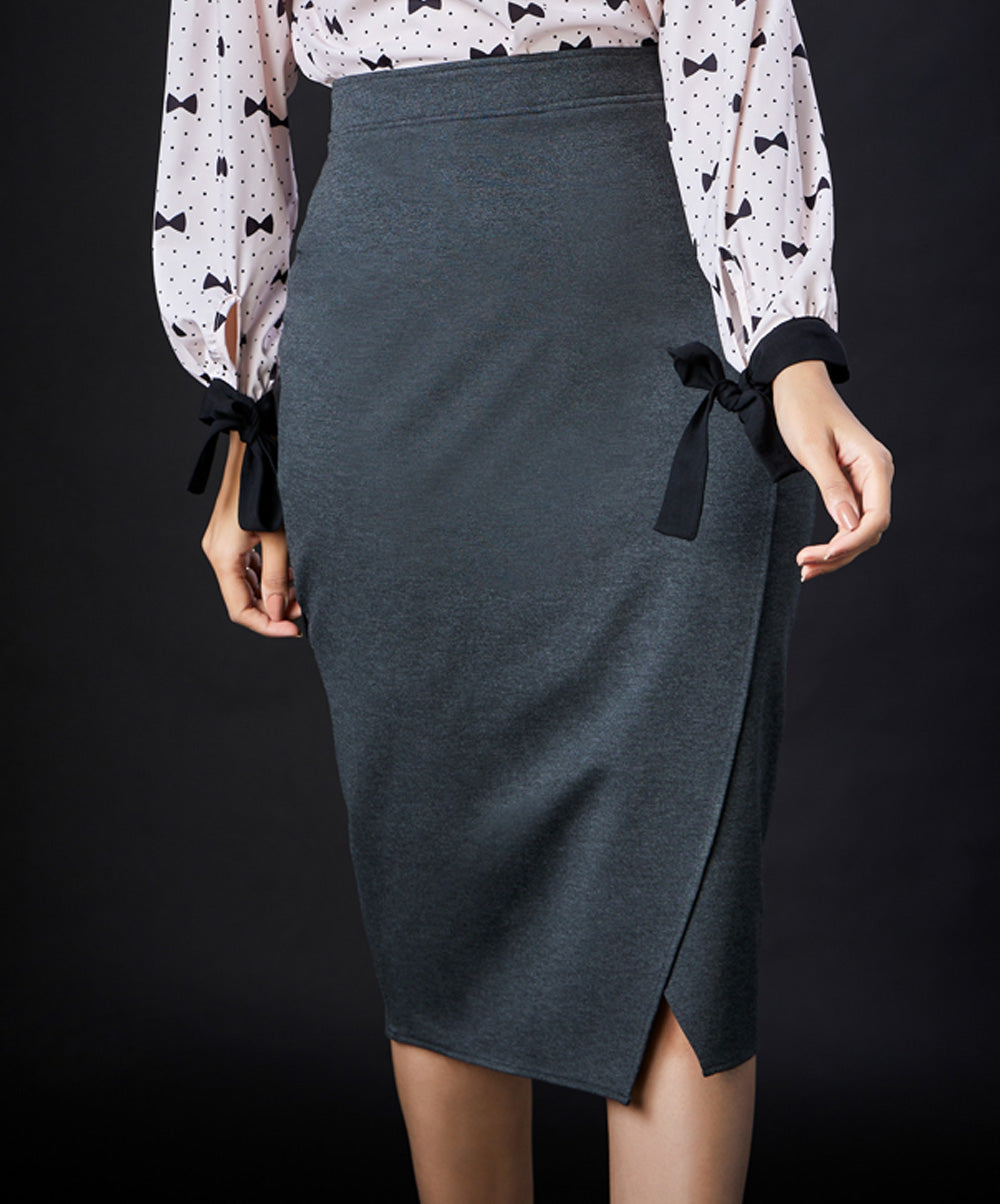 Grey Bodycon Flap Skirt