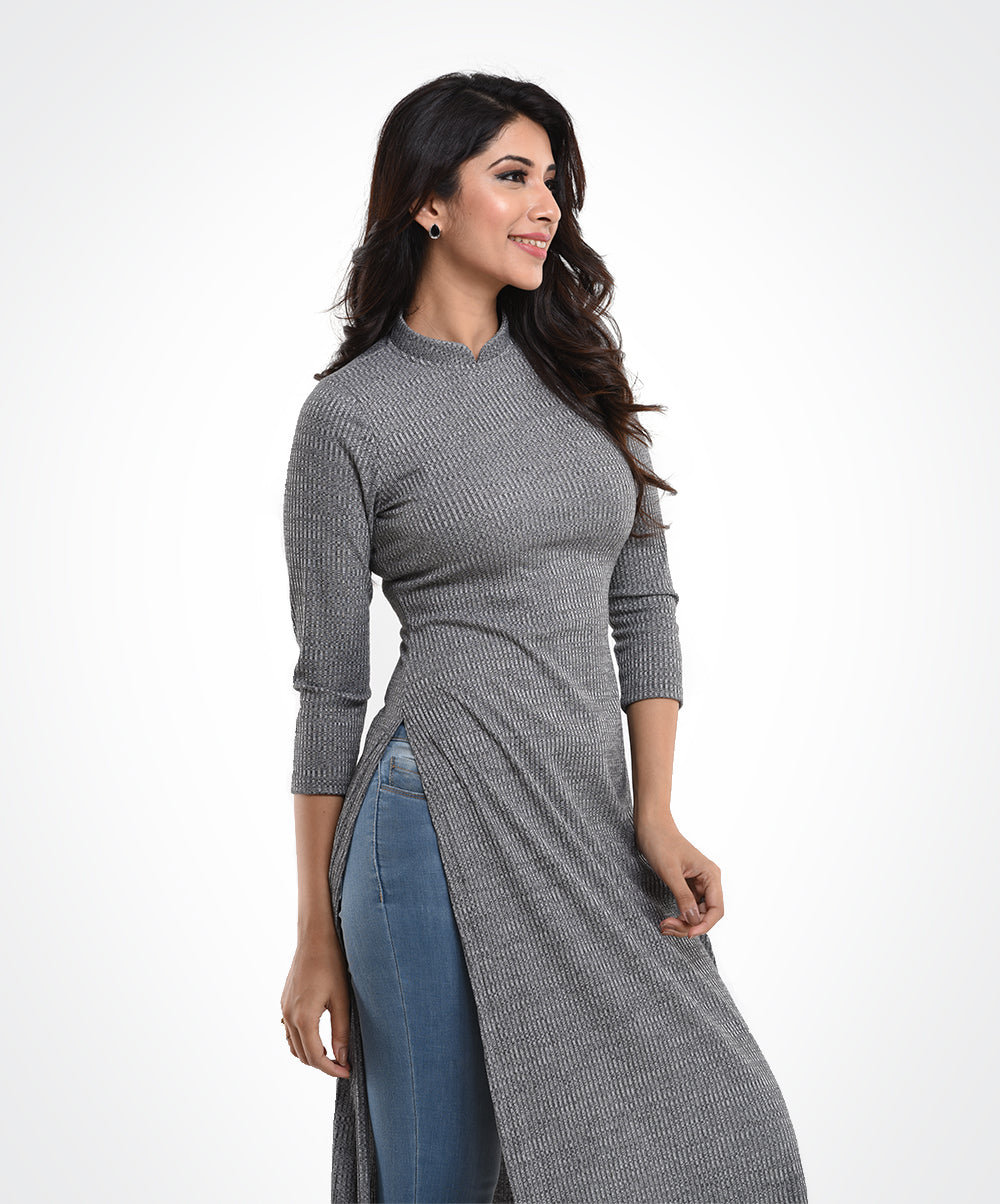 Grey Side Slit Tunic Top