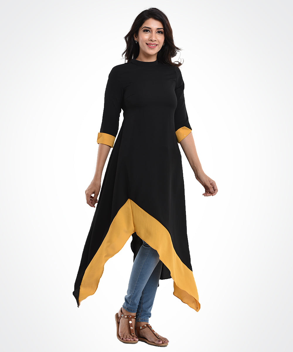 Black Hem Angled Tunic Top