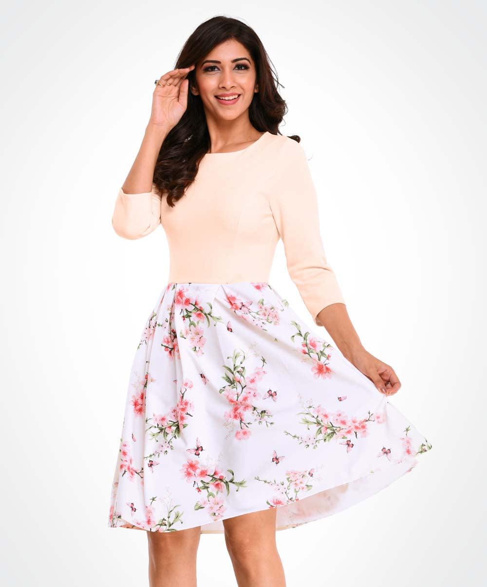 Peach Mix Floral Dress