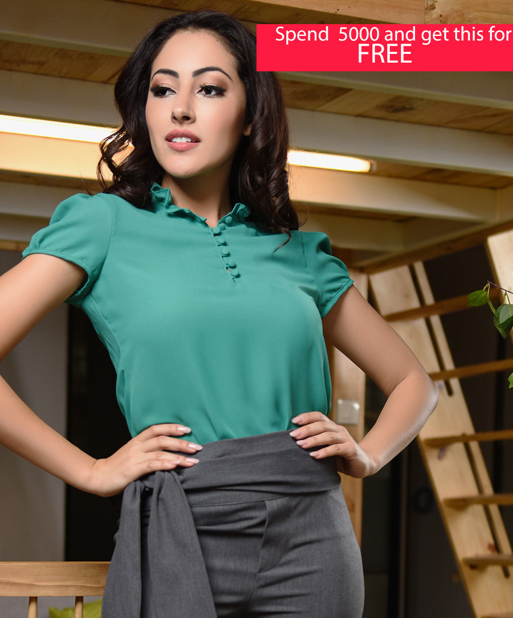 Teal Buttoned Workwear Top