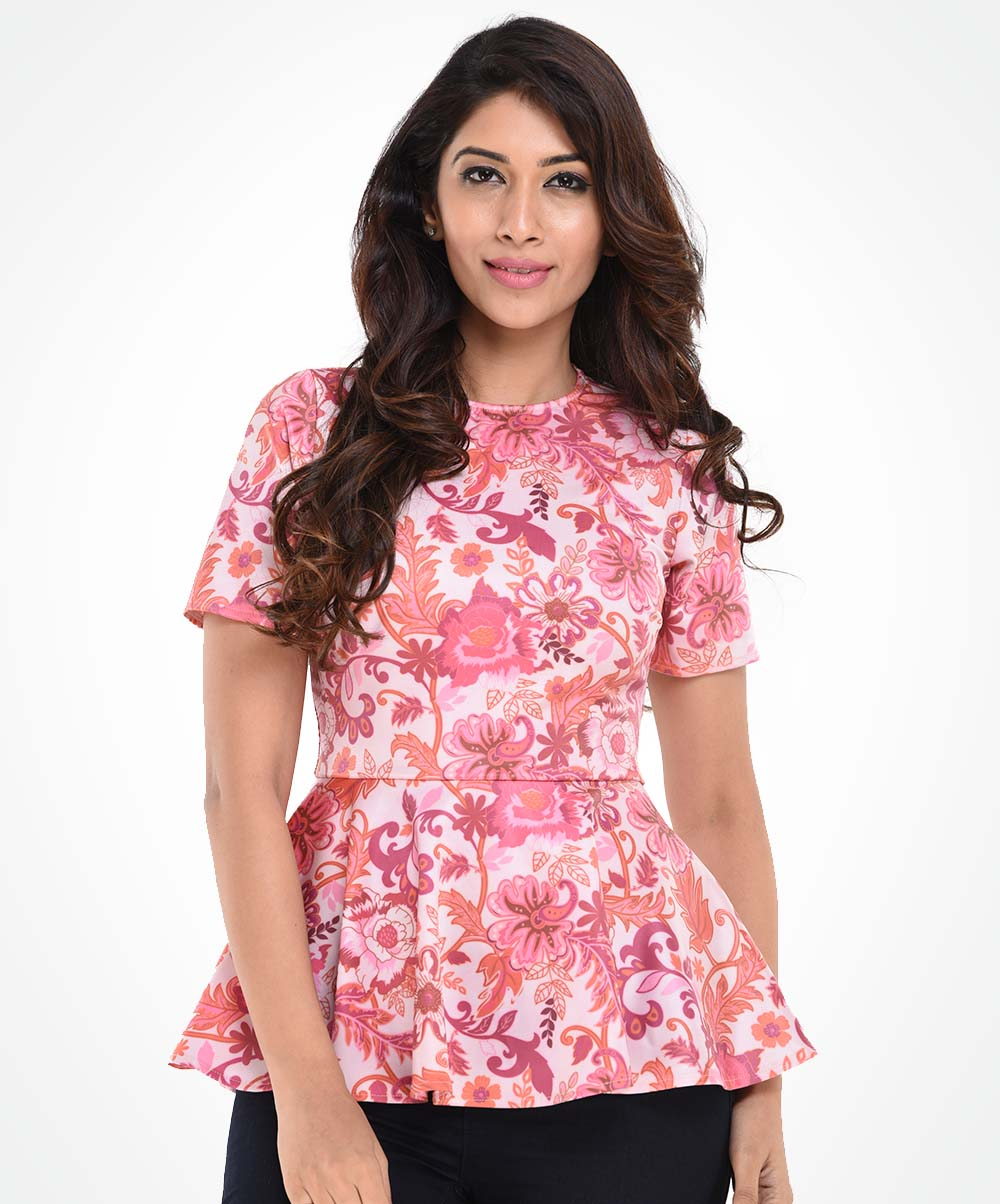 Pink Printed Peplum Top