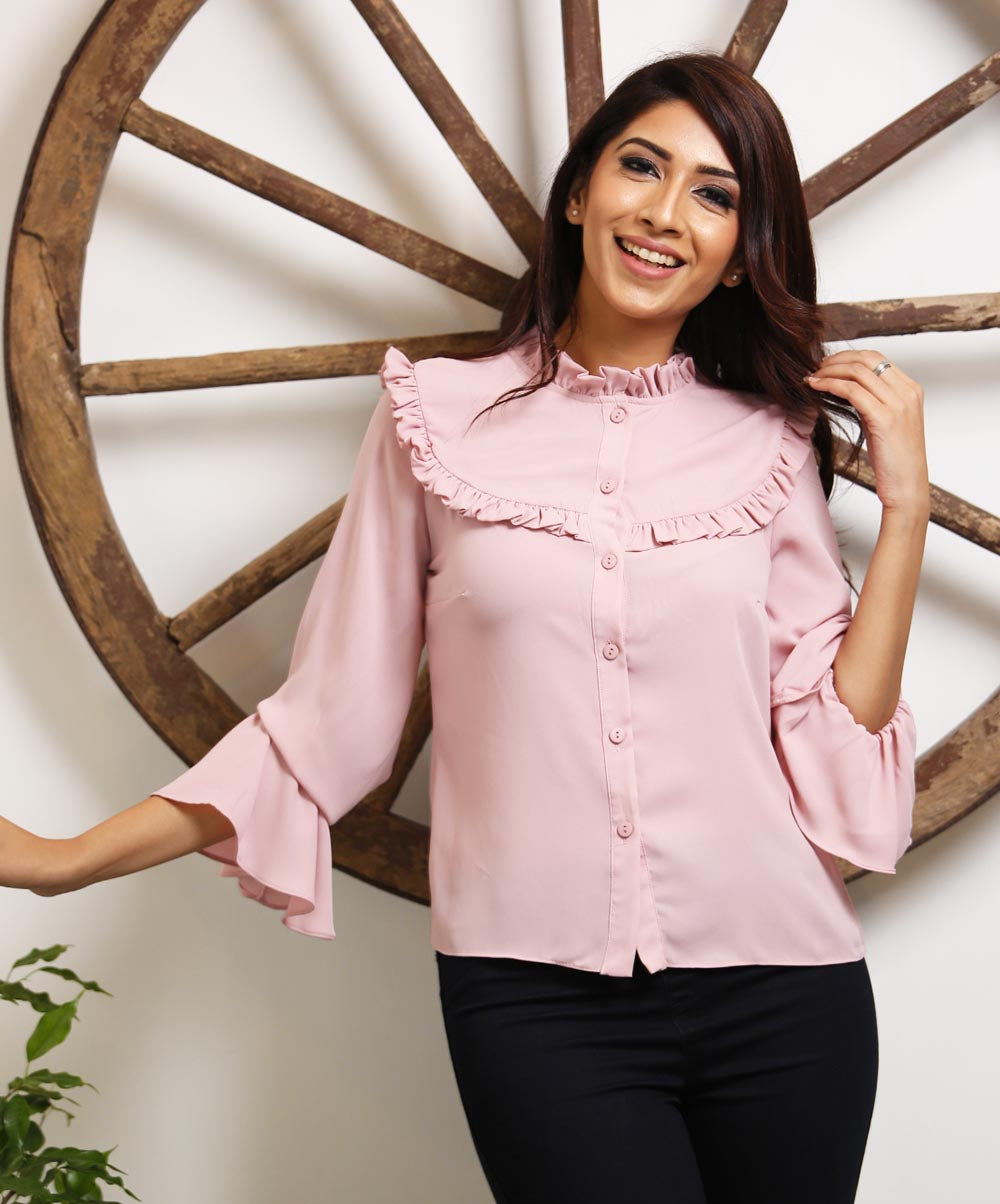 Pink chiffon Frilled top