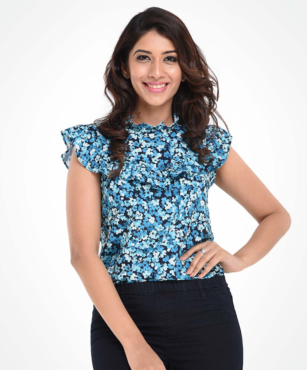 Blue Micro Floral Printed Top