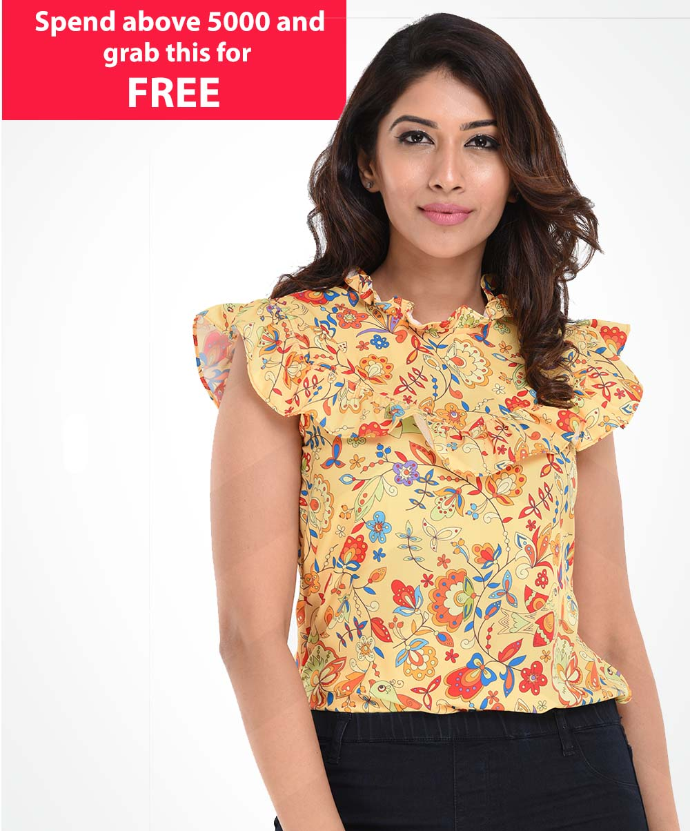 Yellow Floral Printed Top