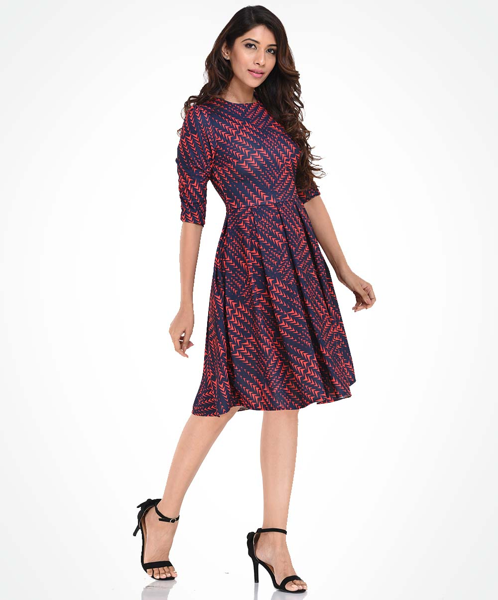 Long Sleeve Pleated Red & Blue Dress